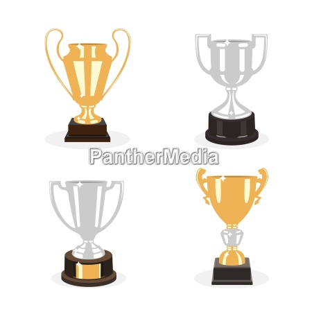 gold and silver cup trophies set