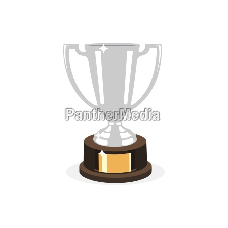 trophy silver cup flat design on