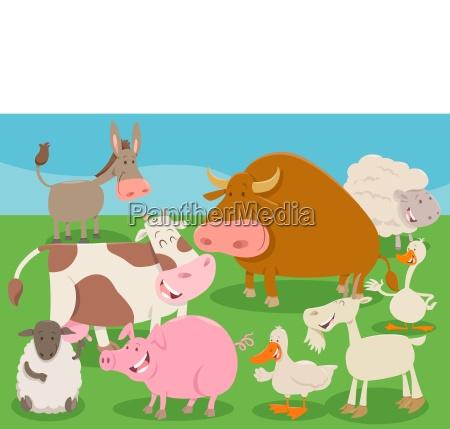 farm animal characters group cartoon illustration