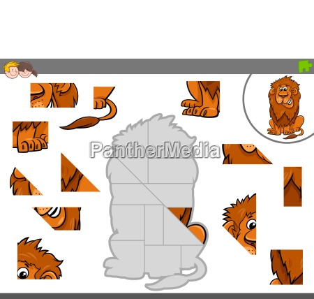 jigsaw puzzle game with lion animal
