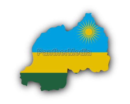 karte und fahne von ruanda