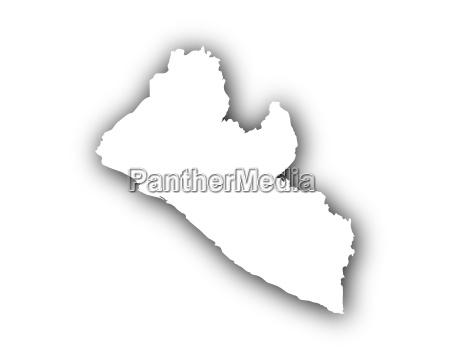 karte von liberia mit schatten