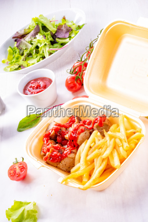 grilled, bratwurst, with, french, fries, and - 24698082