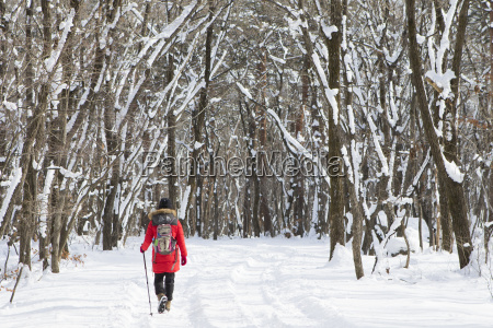 woman hiking in snowy forest of