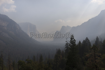 yosemite valley in smoke from nearby