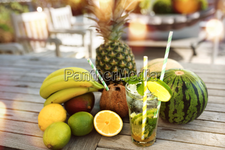 summer drink and fresh fruits