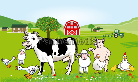 farm animals illustration funny caricature