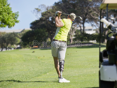 rear view of golfer with artificial