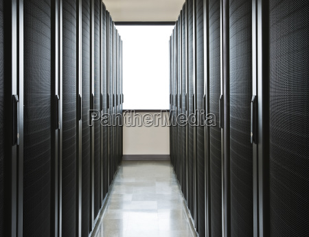 storage racks aligned in a computer