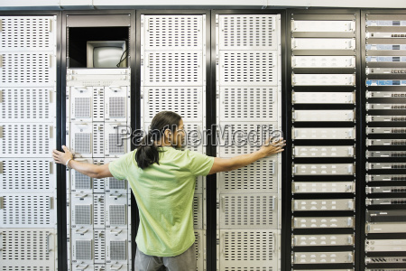 computer technician working in a large