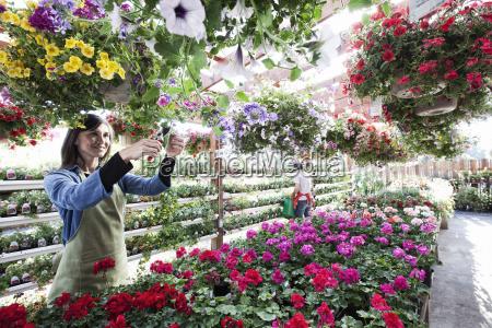 caucasian woman nursery owner watering plants