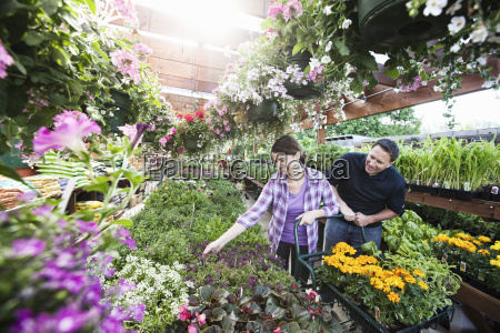 caucasian man and woman shopping for