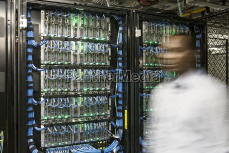 black man technician doing diagnostic tests