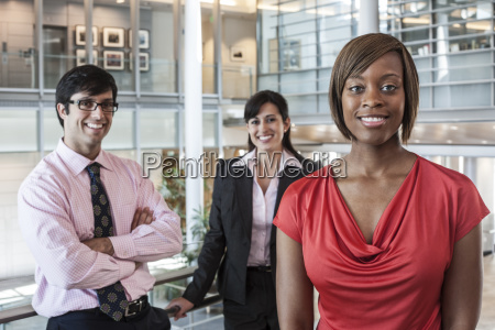mixed race team of business people