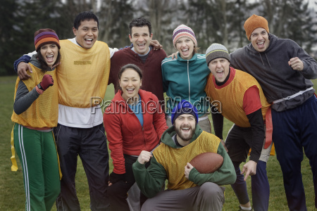 mixed race team portrait of a