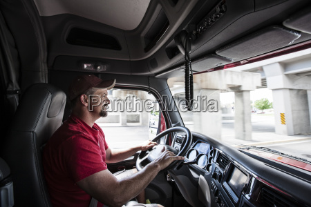 interior cab view of a caucasian