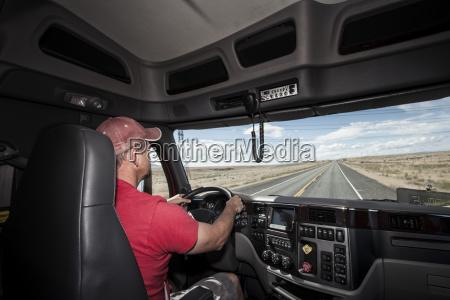 interior cab view of a caucasian