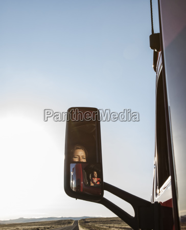 view of a caucasian woman driver