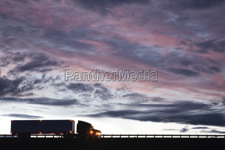 silhouette of a commercial truck
