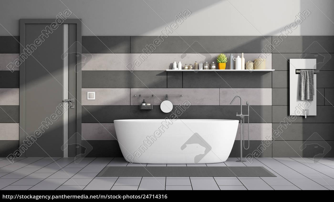 Lizenzfreies Foto 24714316 - minimalistisches schwarzes und graues  badezimmer