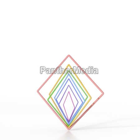 abstract balancing colorful squares 3d rendering