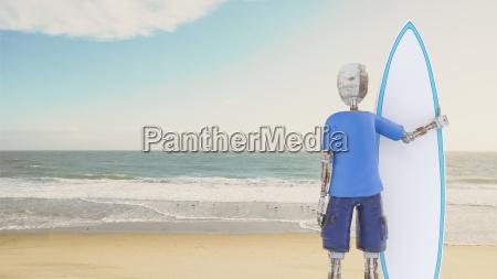 roboter haelt surfbrett am strand 3d