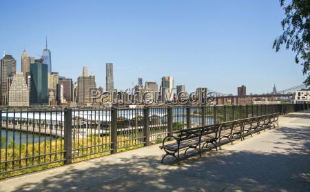 usa new york brooklyn skyline of
