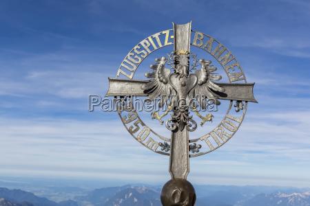 austria germany bavaria zugspitze summit cross