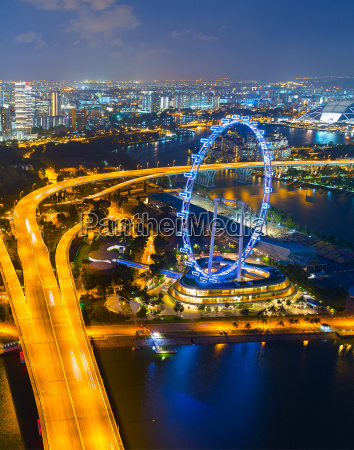 singapore ferries wheel aerial view