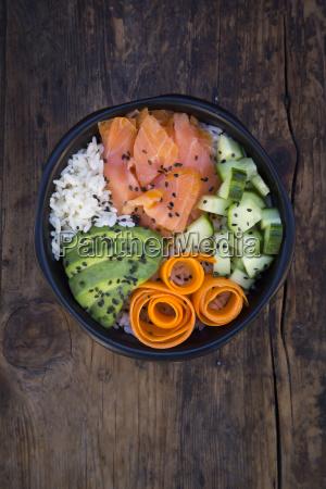 sushi bowl with salmon avocado cucumber
