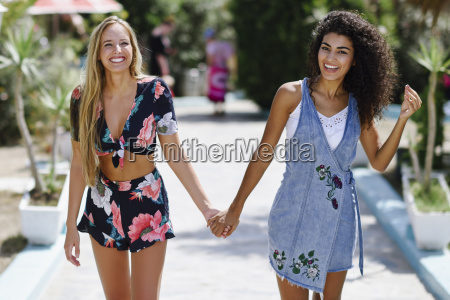 portrait of two happy young women