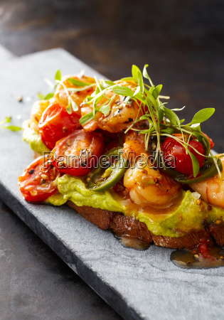 crostini with shrimps and tomato roasted