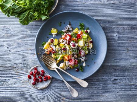 beluga potato salad with kale cherry