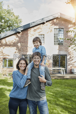 portrait of happy family with son