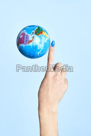 close up of globe next to