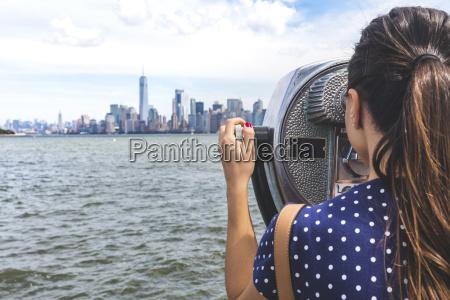 usa new york woman looking at