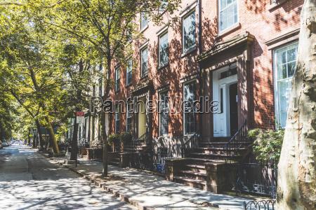 usa new york row of houses