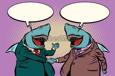 geschaeftshaie sprechen miteinander