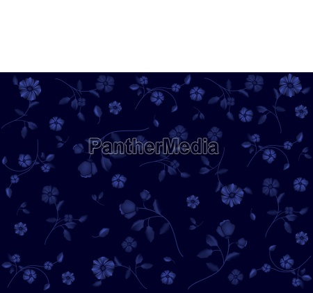 flower pattern on blue wallpaper