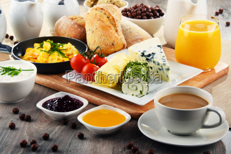 breakfast served with coffee cheese cereals