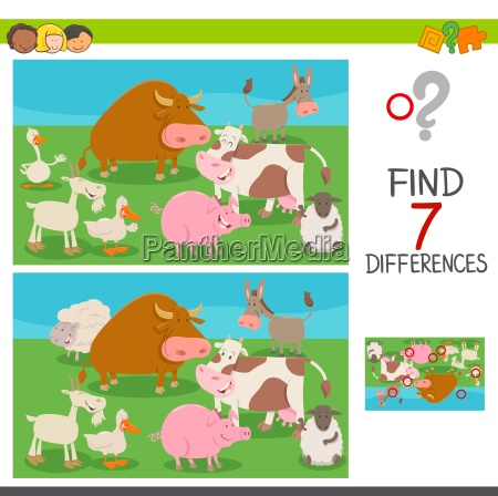 differences game for kids with farm