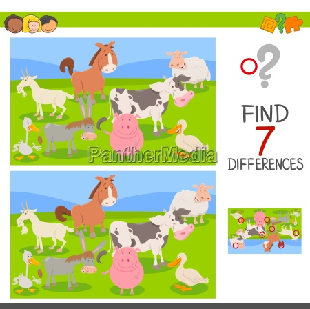 difference game with farm animals group