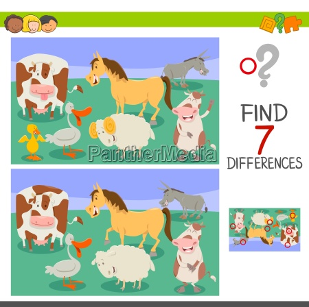 differences game with funny farm animals