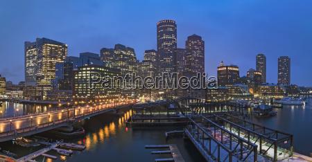 usa massachusetts boston city waterfront panorama