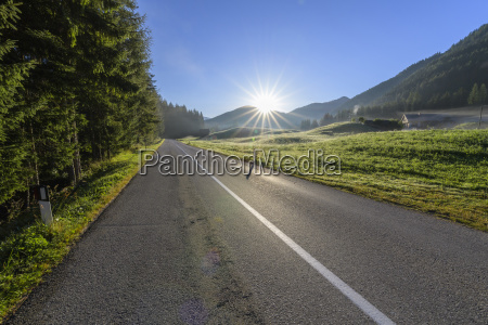 morning sun shining over country road
