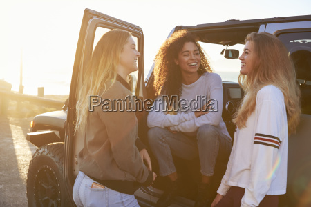 three young female friends on a