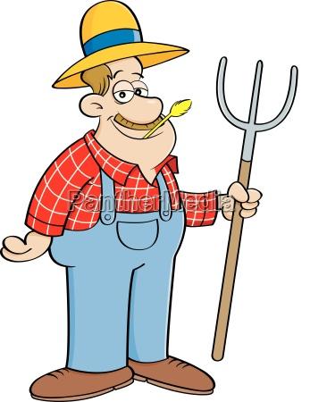 karikaturillustration eines landwirtsder eine heugabel haelt
