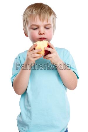 child boy blonde apple fruit fruits