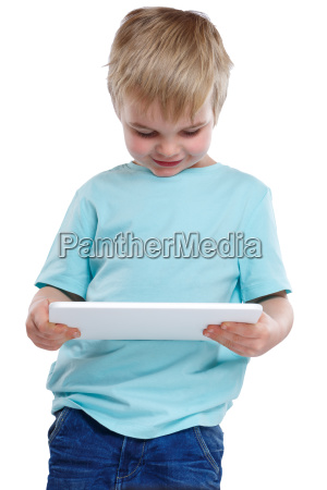 child little boy looking at tablet