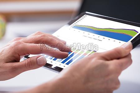 human hand holding digital tablet